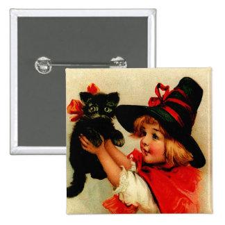 Botón cuadrado de Halloween del vintage Pin Cuadrado