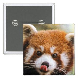 Botón cuadrado de la panda roja pin cuadrado