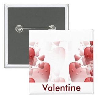 Botón cuadrado de la tarjeta del día de San Valent