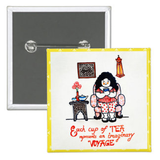 Botón cuadrado de los amantes del té pin cuadrado
