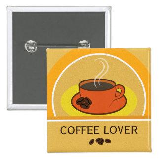 Botón cuadrado de los granos de café del amante pin cuadrado