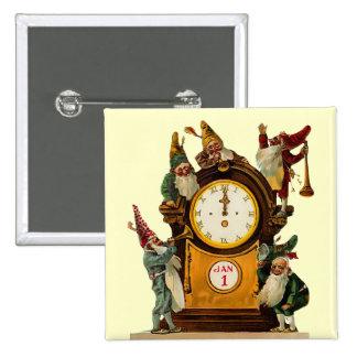 Botón cuadrado de Noche Vieja del vintage Pins