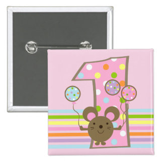 Botón cuadrado del 1r cumpleaños del rosa del rató