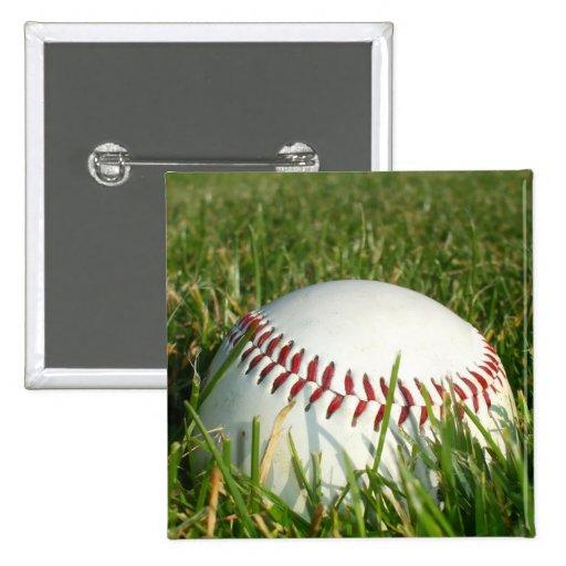 Botón cuadrado del béisbol pin cuadrado