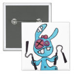 Botón cuadrado del conejo 2inch de Nunchaku Pins