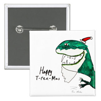 Botón cuadrado del navidad T-Rex-Mas Pin
