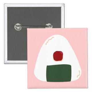Botón cuadrado del Pink ver del ♥ de Onigiri