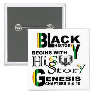 Botón cuadrado negro de HiSStory Pin Cuadrado
