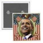 Botón cuadrado patriótico de Obama Pins