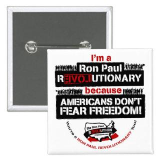 Botón cuadrado revolucionario de Ron Paul