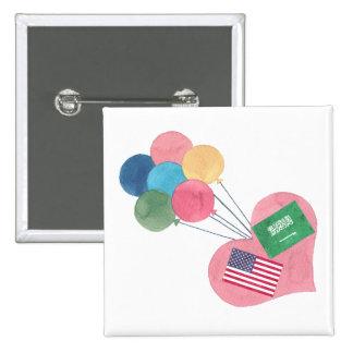 botón cuadrado saudí-americano del pinback pin cuadrado