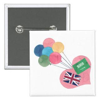 botón cuadrado saudí-británico del pinback pin cuadrado
