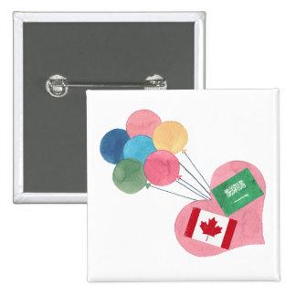 botón cuadrado saudí-canadiense del pinback pin cuadrado
