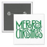 Botón cuadrado verde de las Felices Navidad Pins