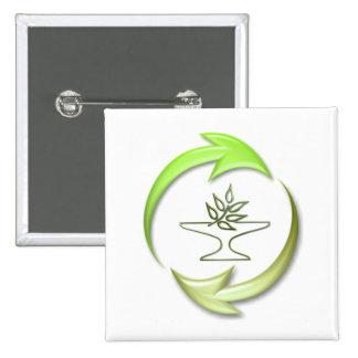 Botón cuadrado vivo verde pin