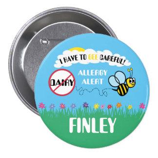Botón cuidadoso de la alarma de la alergia de la pin redondo de 3 pulgadas