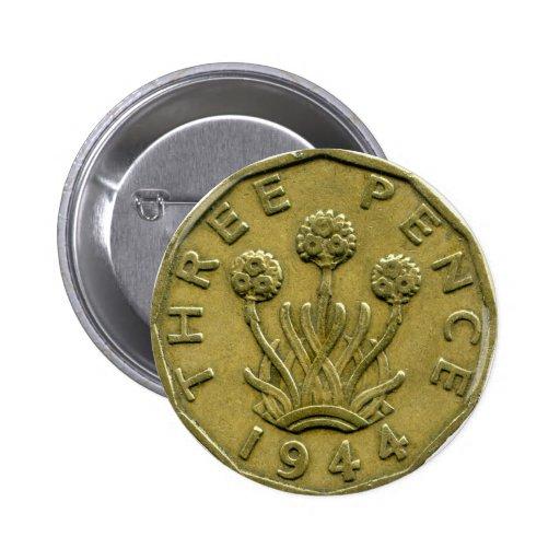 Botón de 1944 peniques de Británicos tres Pin Redondo De 2 Pulgadas
