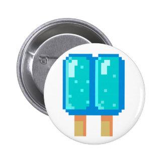Botón de 8 bits azul del arte del pixel del Popsic Pin Redondo De 2 Pulgadas