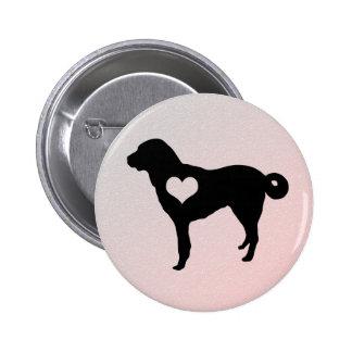 Botón de Anatolia del corazón del perro de pastor Pin Redondo De 2 Pulgadas