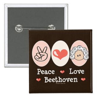 Botón de Beethoven del amor de la paz Pin Cuadrado