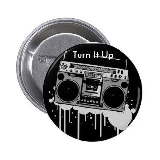 Botón de Boombox: Diseños del Sonido-Eco Pin