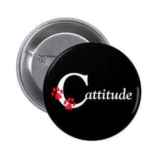 Botón de Cattitude de las patas del gatito Pin Redondo De 2 Pulgadas