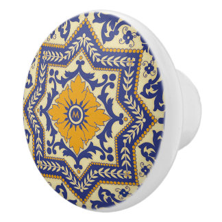Botón de cerámica azul del estilo de cerámica de pomo de cerámica