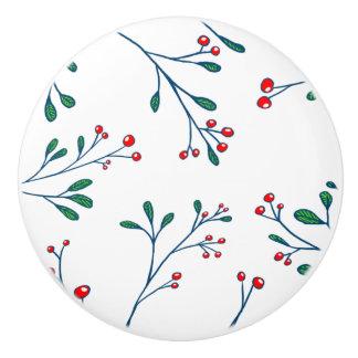 Botón de cerámica blanco de las bayas rojas pomo de cerámica