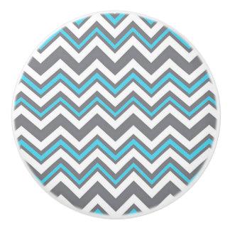 Botón de cerámica/Chevron azul y gris Pomo De Cerámica