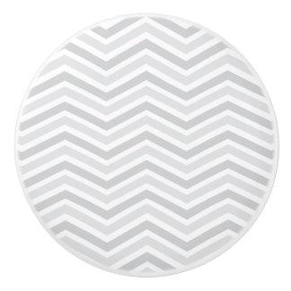 Botón de cerámica/Chevron gris Pomo De Cerámica