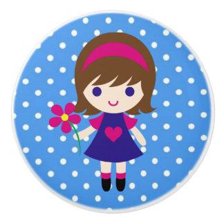Botón de cerámica/chica lindo con la flor y los pomo de cerámica