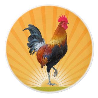 Botón de cerámica colorido del diseño del gallo pomo de cerámica