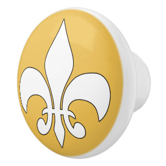 Botón de cerámica de encargo de la flor de lis pomo de cerámica