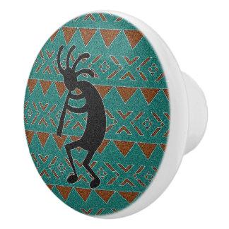 Botón de cerámica de Kokopelli de la turquesa al Pomo De Cerámica