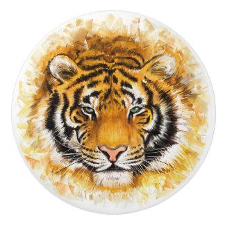Botón de cerámica de la cara artística del tigre pomo de cerámica