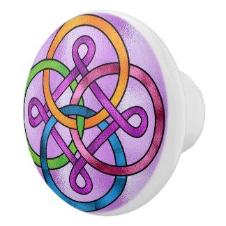 Botón de cerámica de la imagen del vitral pomo de cerámica
