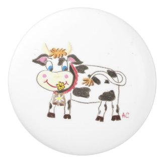 Botón de cerámica de la vaca suiza pomo de cerámica