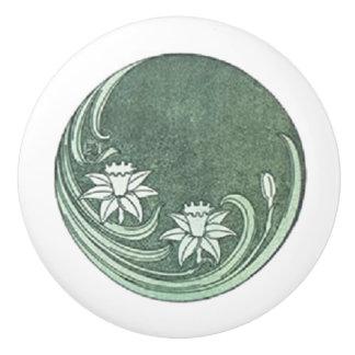 Botón de cerámica de los narcisos verdes suaves pomo de cerámica