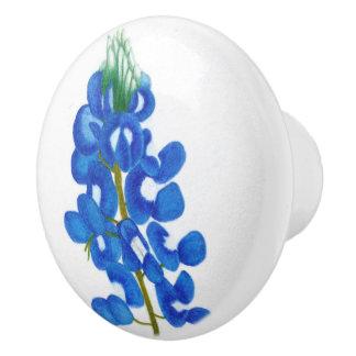 Botón de cerámica del Bluebonnet solitario de la Pomo De Cerámica