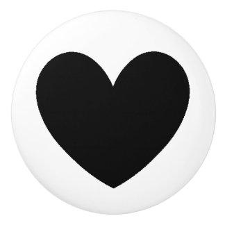Botón de cerámica del corazón negro pomo de cerámica