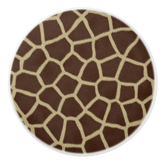 Botón de cerámica del estampado de girafa pomo de cerámica