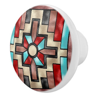 Botón de cerámica del falso vitral al sudoeste pomo de cerámica