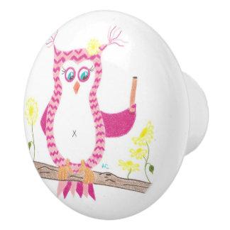 Botón de cerámica del galón del profesor rosado pomo de cerámica