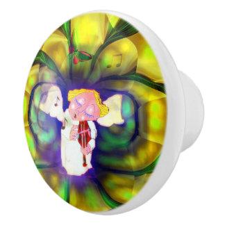 Botón de cerámica del jugador Violine del ángel de Pomo De Cerámica