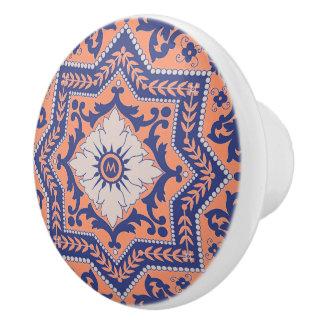 Botón de cerámica del monograma del estilo pomo de cerámica