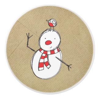Botón de cerámica del muñeco de nieve pomo de cerámica