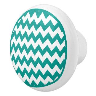 Botón de cerámica del zigzag de Chevron de la Pomo De Cerámica
