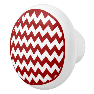 Botón de cerámica del zigzag rojo de Chevron Pomo De Cerámica