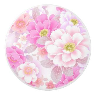 Botón de cerámica/flores rosadas pomo de cerámica