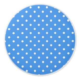 Botón de cerámica/fondo Punto-Azul de la polca Pomo De Cerámica